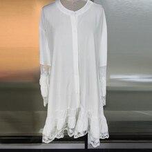ZANZEA Women's Dress Mid-Claf Vestido De Mujer2021 Summer Lace Patchwork Sundress Casual Flare Sleeve Female White Shirt Robe