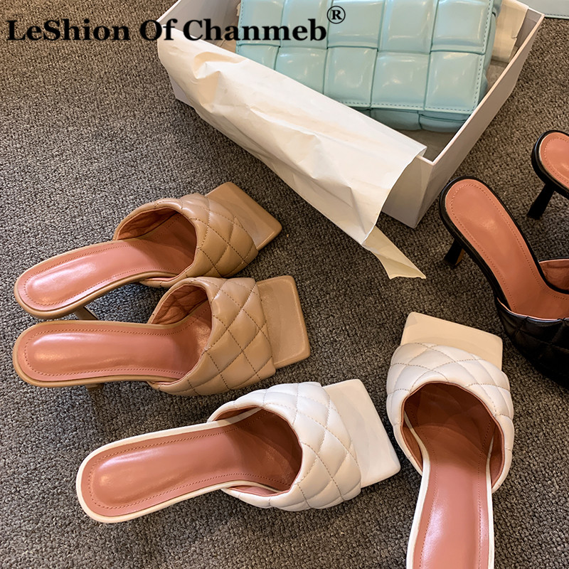 Microfiber Leather Slippers Women Quilted Shoes Woman Ladies Thin High Heel Slides Summer Outdoor Party Shoes Female Flip Flops