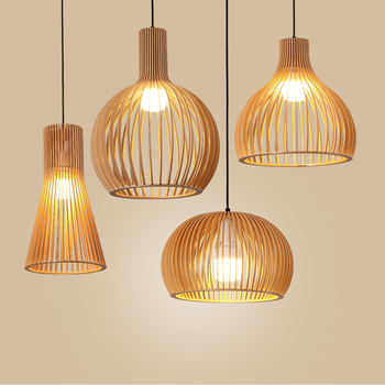 Hand-made wooden birdcage Pendant Lamp Netherlands home decoration E27 pendant light indoor led lighting for dining room bar modern black wood birdcage e27 bulb pendant light norbic home deco bamboo weaving wooden pendant lamp