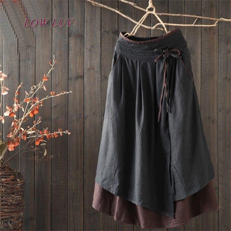 2020 New Women Wide Leg Loose Linen Cotton Asymmetric Pants Original Designer Plus Size Capris Elastc Waist Skirt 451
