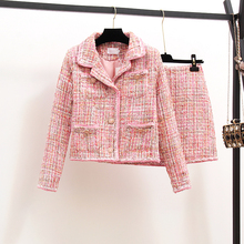 New Autumn Fashion Ladies Sets Elegant Long Sleeve Tweeds Pink Jackets + Slim Wa