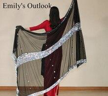 Venta al por mayor, velo de bufanda de danza del vientre para mujer, bufanda de mano de lentejuelas de gran tamaño, bufandas de baile para escenario, chal de Malaya