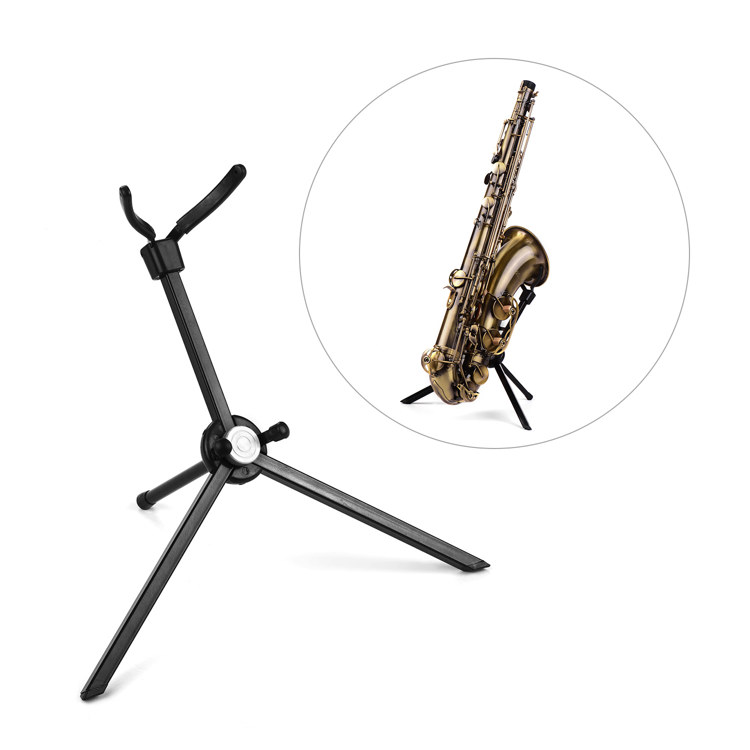 Portable Tenor Saxophone Stand Sax Floor Stand Holder Stainless Steel Foldable With Carry Bag