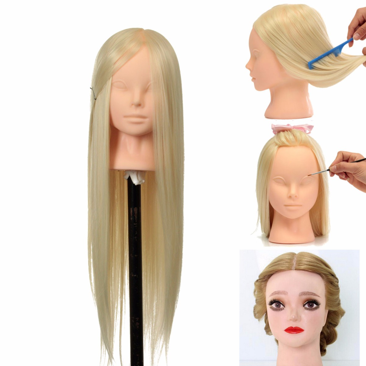 Female 22inches Training Head Mannequins For Hairdressing Practise Hairstyle Head Manikin Dummy Dolls With Free Holder