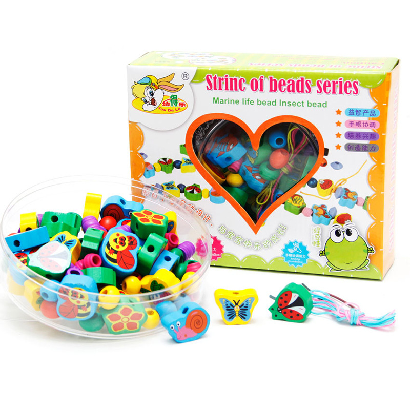 CHILDREN'S Toy Fruit With Numbers Beaded Bracelet Bead-stringing Toy Wooden Building Blocks Early Childhood Educational Toy Toys