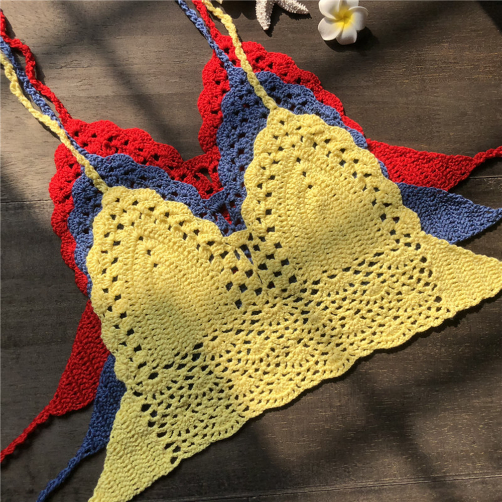 2019 New Sexy Women Bra Boho Beach Bikini Crop Tops Camisoles Handmade Crochet Knitted Sleeveless Backless Belted Tank Lingerie