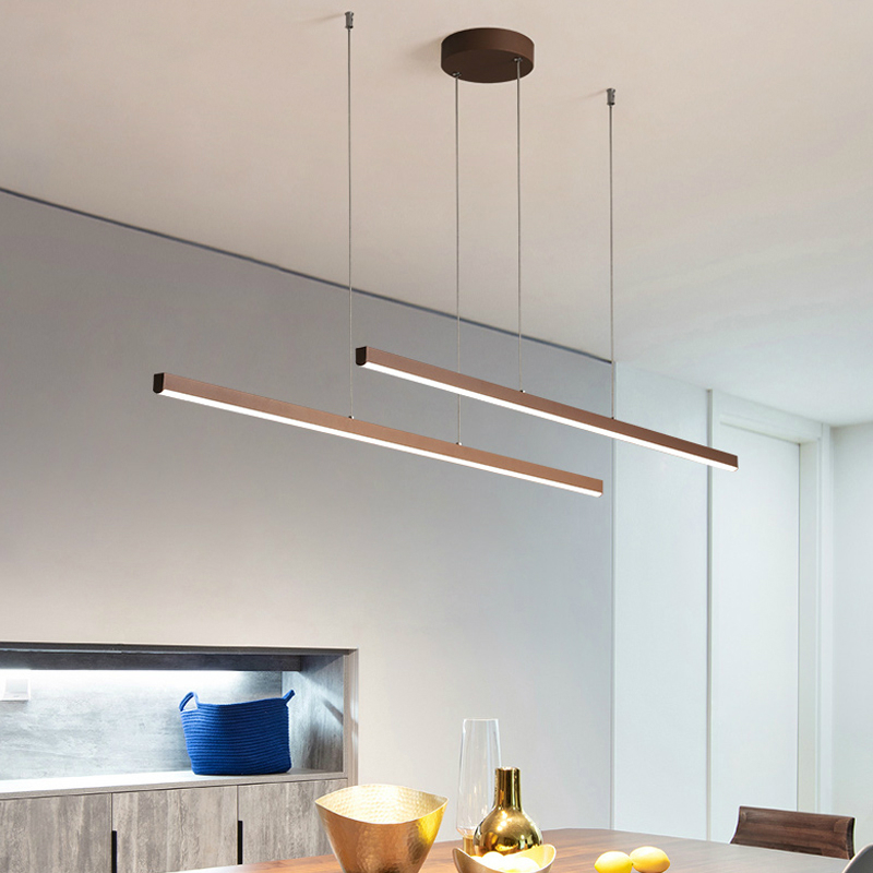 Nordic LED Chandelier Lighting For Dining Room Bar Coffee Shop Long Hanging Light Reataurant Office Modern Brown Pendant Lamp
