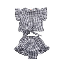1-5Y Toddler Kids Baby Girls Clothes Set Summer Ruffle Short Sleeve Plaid Crop Top and Bloomer Skirt Street Wear Outfits