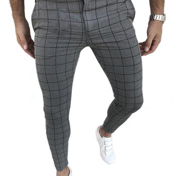 Plaid męskie spodnie Sknny spodnie odzież męska spodnie Pantalon ołówek spodnie męskie Ropa Hombre Streetwear mężczyźni inteligentny spodnie na co dzień tanie i dobre opinie CN (pochodzenie) Mieszkanie Poliester NONE skinny Pełnej długości mens pants Midweight Suknem Kostki długości spodnie