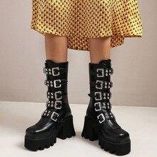 Botas de plataforma estilo gótico Punk para mujer, zapatos de media pantorrilla con cuña y cremallera, botas militares de combate, para invierno, con correa de Hebilla negra