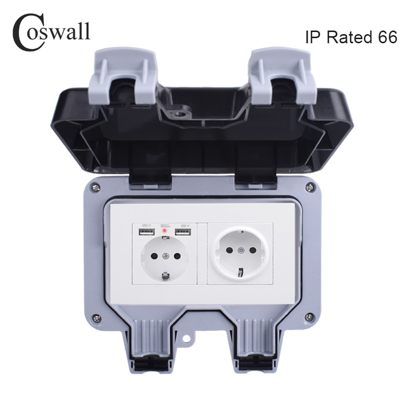 Coswall IP66 Weatherproof Waterproof Outdoor Wall Power Socket 16A Double EU Standard Outlet With Dual USB Charging Port 2 1A