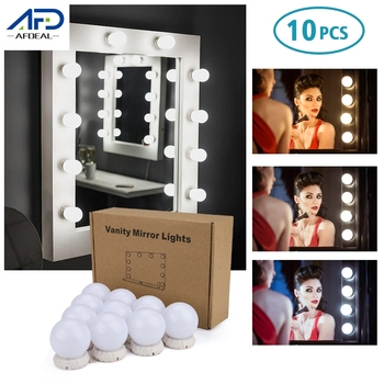 Lustro do makijażu światło 10 żarówek Hollywood Vanity Lights 3 tryby kolory toaletka makijaż lampa lustrzana dekoracja wnętrz tanie i dobre opinie AFDEAL CN (pochodzenie) Przełącznik Adjustable Bulbs