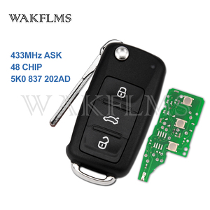 5K0837202AD ID48 433MHz Remote Key for VW UP Caddy Touran Eos PASSAT GOLF POLO Jetta Tiguan Transporter 5K0 837 202 AD