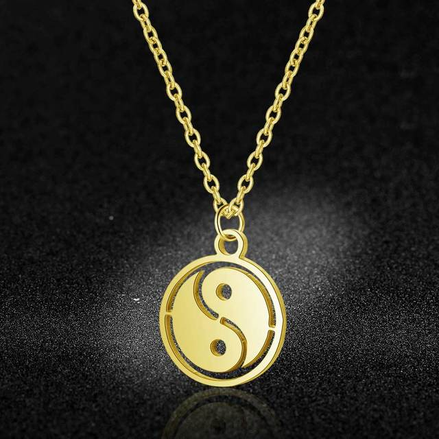 100% Stainless Steel Yin Yang Symbol Charm Necklace Never Tarnish Steel High Polished Chinese Amulet Pendant Women Necklaces