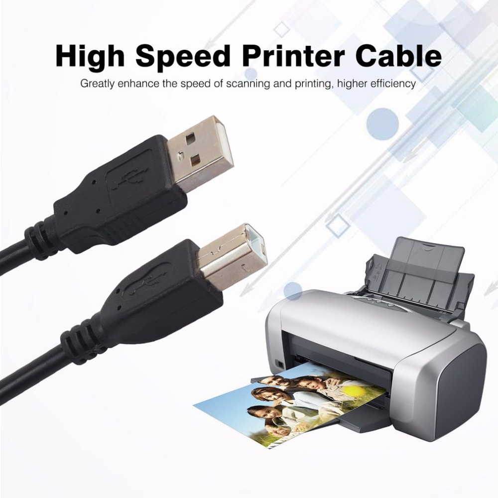 2017 New 1.5m 3m <font><b>USB</b></font> <font><b>2.0</b></font> <font><b>AM</b></font>-TO-<font><b>BM</b></font> High Speed Cable Lead A to B Long Black Shielded Compatible Printer Scanners Hard Disk Stable image