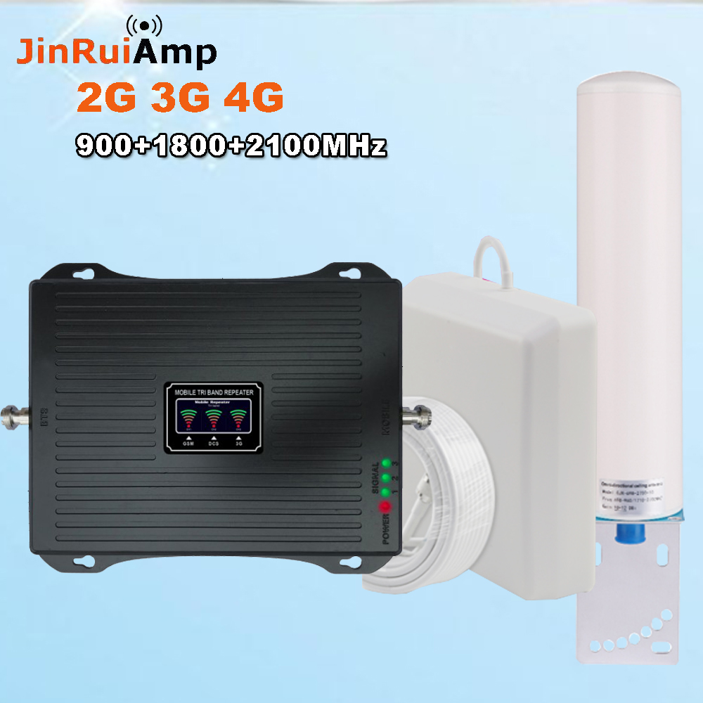 2019 Latest Lcd Dispaly Gsm Repeater 2g 900mhz 3g Wcdma 2100mhz 4g Dcs 1800mhz Cellphone LTE Cellular Signal Booster Full Sets