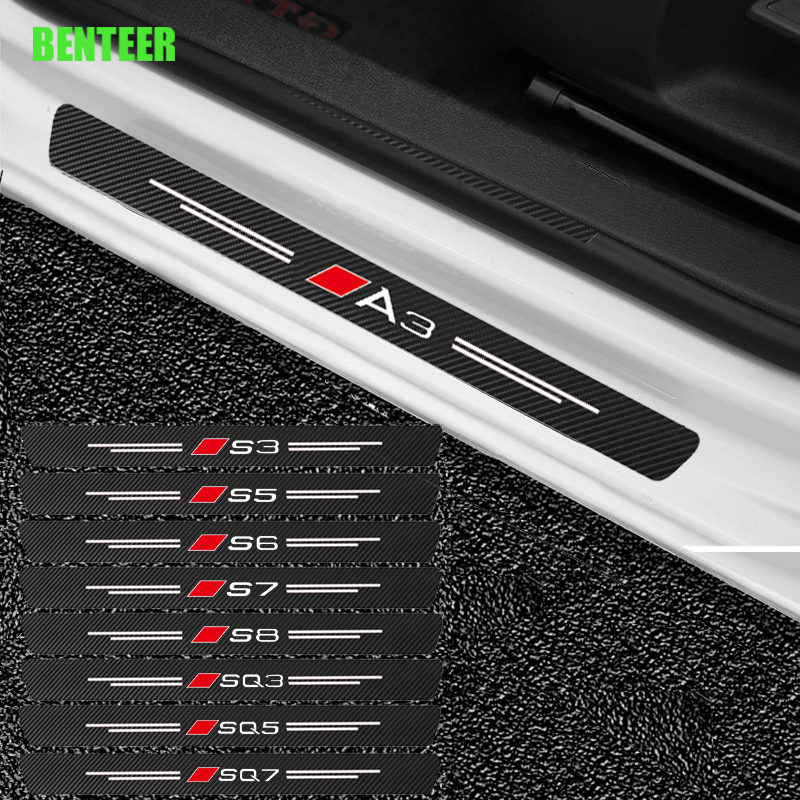 4pcs Carbon Fiber Car Door Sticker For Audi Sline Quatttro A1 A3 A4 A5 A6 A7 A8 Q3 Q5 Q7 TT SQ3 SQ5 SQ7 S1 S2 S3 S4 S6 S8 TT B8