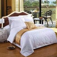 Rayuan 골든 플로랄 더블 레이어 침대 러너 스카프 침대보 홈 호텔 웨딩 침구 침실 침대 테일 타올 3 크기