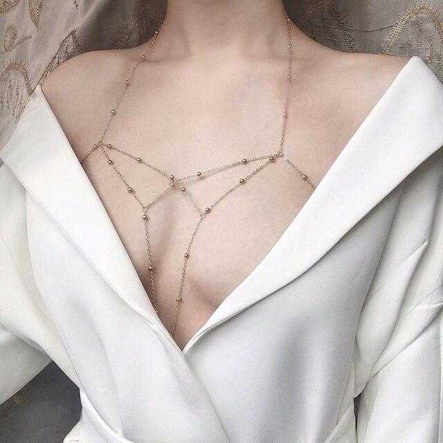 New tassel bikini chest chain body waist chain Beach Sexy multi-layer tassel body jewelry women's chest chain 2