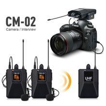 UHF microfono Lavalier Wireless a doppio canale microfono bavero per fotocamera reflex gamma 60m per videocamera DSLR intervista registrazione Live