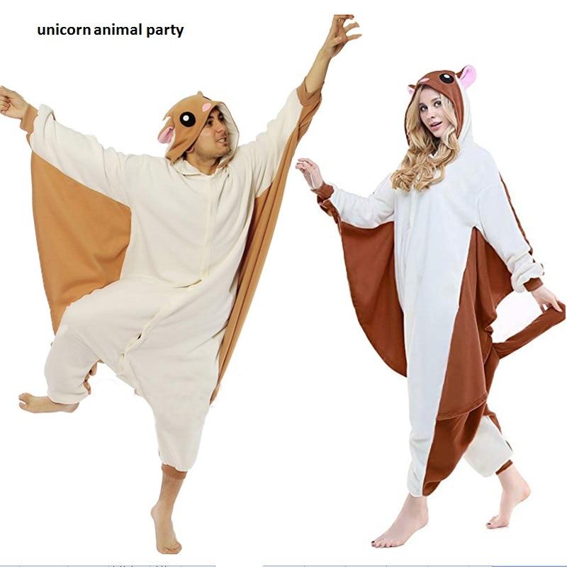 Kigurumi Terbang Tupai Onesies Unisex Dewasa Piyama Cosplay Kostum Hewan Pakaian Tidur Jumpsuit Halloween Pijamas