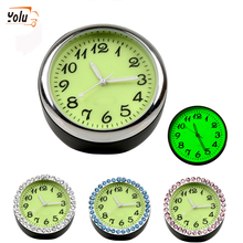 YOLU Car Clock Thermometer Luminous Mini Automobiles Internal Stick-On Digital Watch Mechanics Quartz Clocks