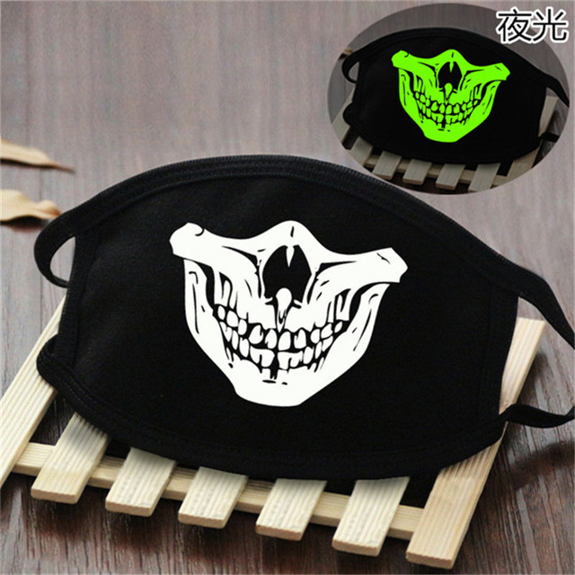 Cute Anime Cosplay Masks Cotton Washable Noctilucent Skull Bear Mask Breathable Dust-proof Street Sports Mask Props New 4