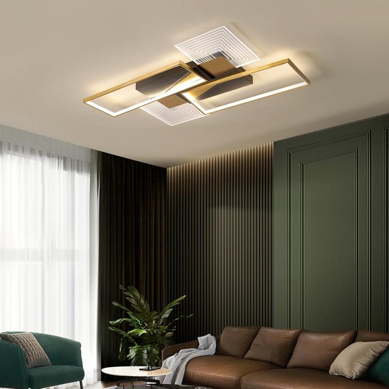 Moderna lâmpada do teto led para sala de estar cozinha quarto preto + ouro lester retângulo acrílico lustre luminárias para casa