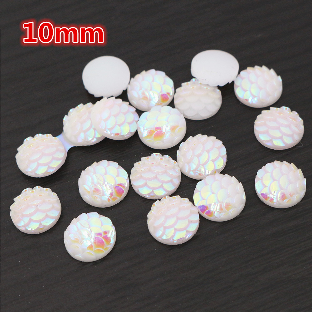 10mm 40pcs/Lot Pure White AB Colors Fish Scales Style Flat Back Resin Cabochons For Bracelet Earrings Accessories-O2-24