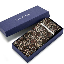 100%Silk 8cm Men Tie Set Fashion Brown  paisley jacquard tie &handkerchief&cufflinks&clip gift box set wedding business Necktie