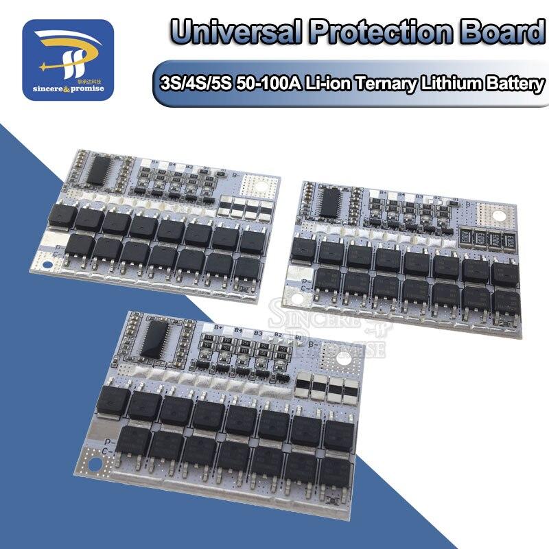 Защитная печатная плата для литий-ионных и тройных литий-полимерных аккумуляторов 3S/4S/5S BMS 12 В 16,8 в 21 в 18650 A, балансировочный зарядный модуль