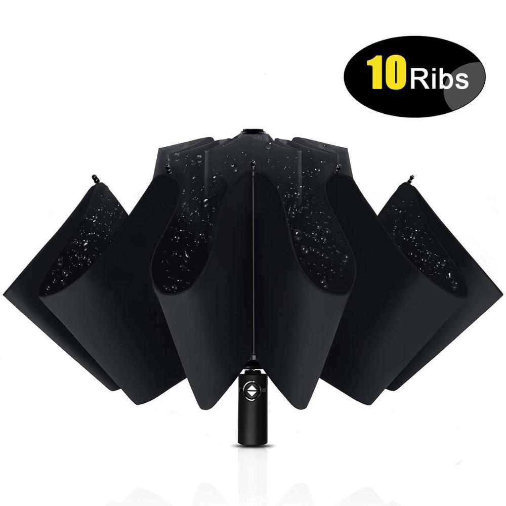 Automatic Open Compact Windproof Strong 10-Ribs Folding Portable Umbrella Travel