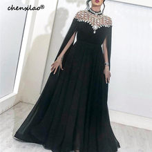 Black Muslim Evening Dresses 2019 A-line Chiffon Beaded Crystals Plus Size Islamic Dubai Saudi Arabic Long Formal Evening Gown(China)