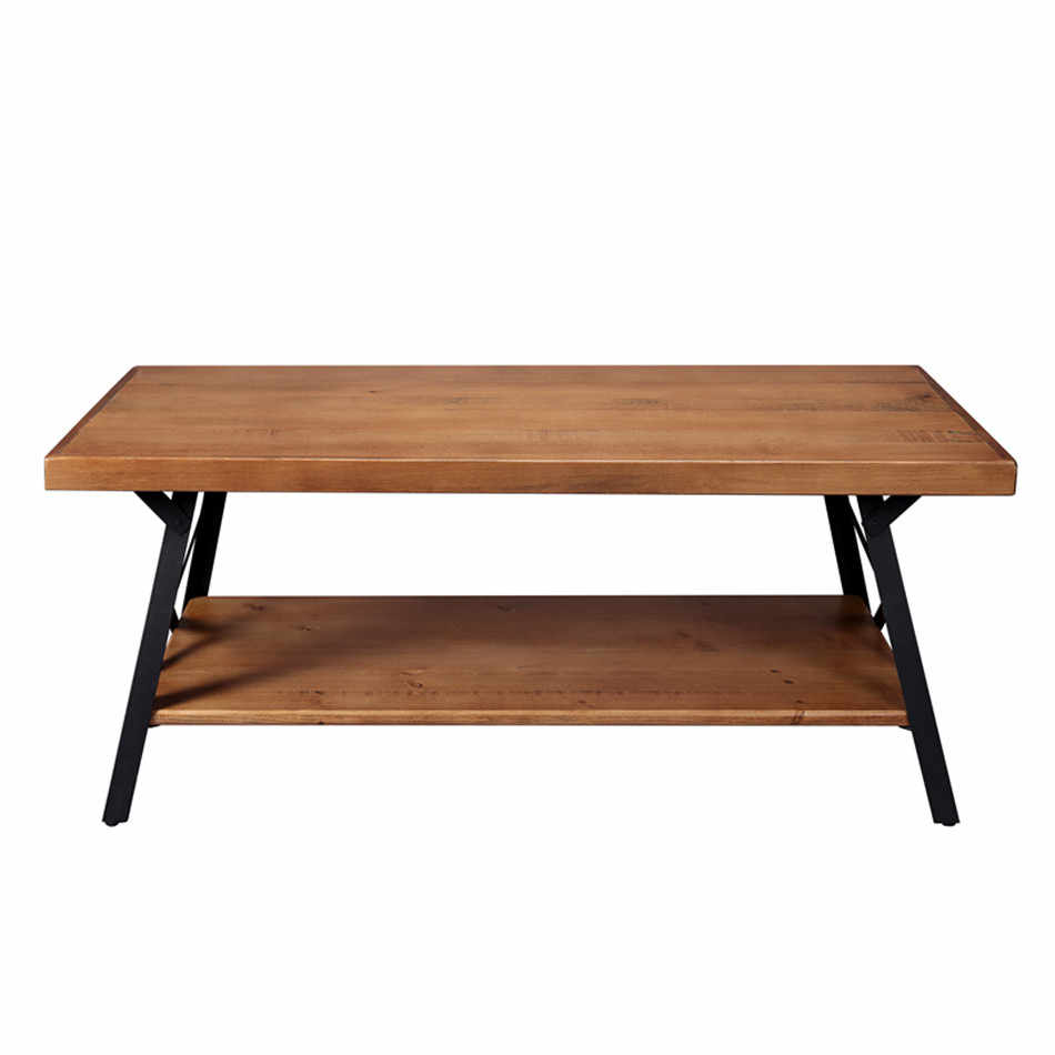 - 43'' Metal Legs Rustic Coffee Table Nordic Minimalist Creative Net