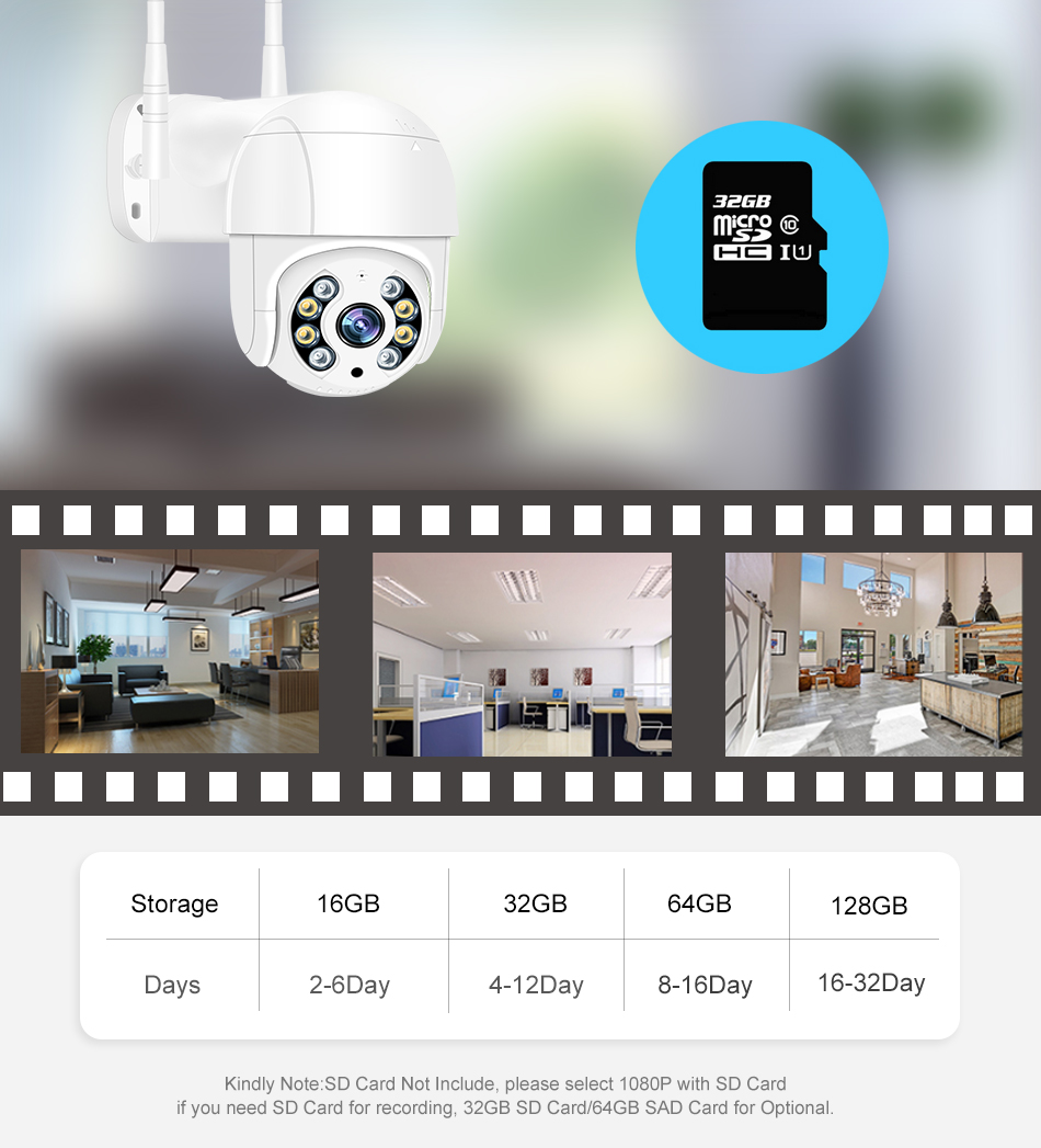 Smar 1080P Outdoor PTZ Wireless IP Camera 4X Digital Zoom Speed Dome Mini WiFi Security CCTV Audio Camera Auto tracking of Human (11)