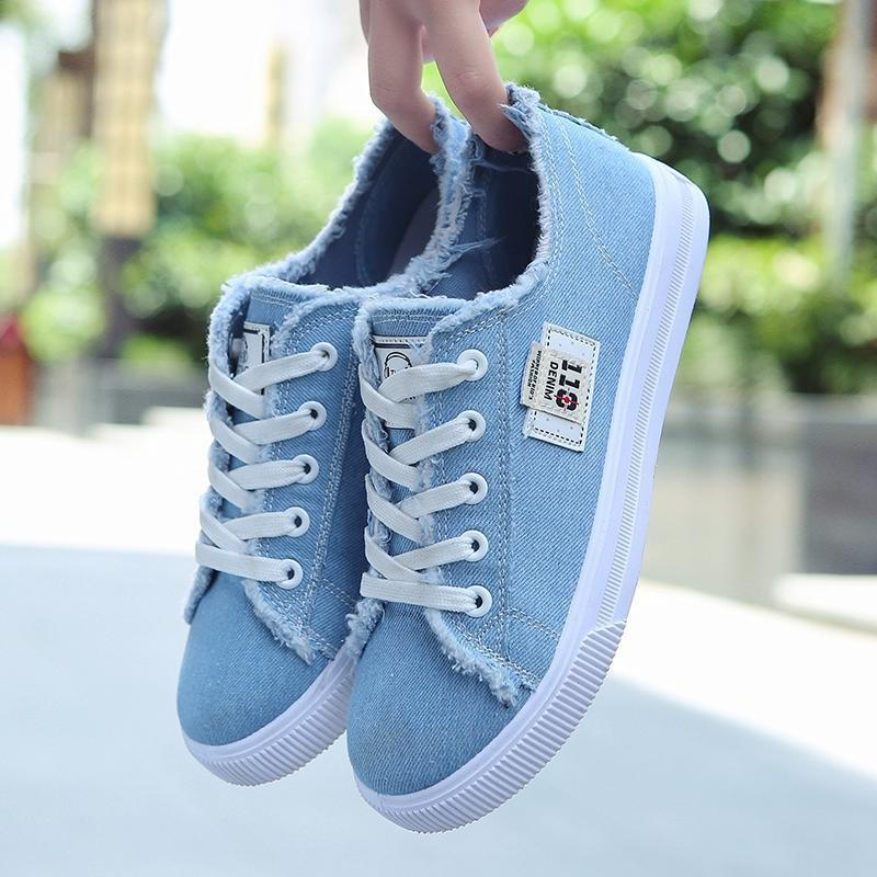 New Women Vulcanized Shoes Frayed Raw LightweightTrekking Shoes Woman Casual Espadrilles Girls Blue Sneakers Shoes Cheap
