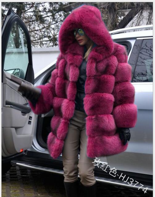 Hiver fausse fourrure manteau nouvelle mode pardessus femme moyen Style col montant fourrure de renard en vrac Imitation fourrure vestes grande taille S-4XL - 2