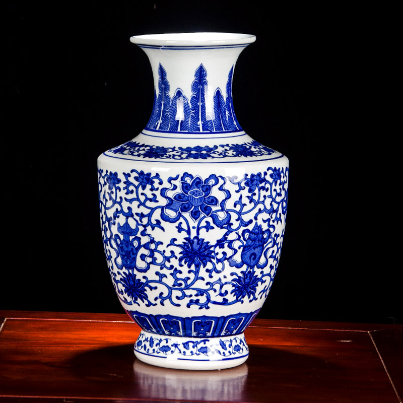 Vintage Chinese Blue And White Vase Porcelain Ornaments Ceramic Planter Vases Decorative Living Room Asian Gift Collection