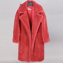 Roupas de Inverno 2020 das mulheres da moda casacos de lã Natural pele de carneiro Longo casaco de urso de pelúcia Quente e descontraído