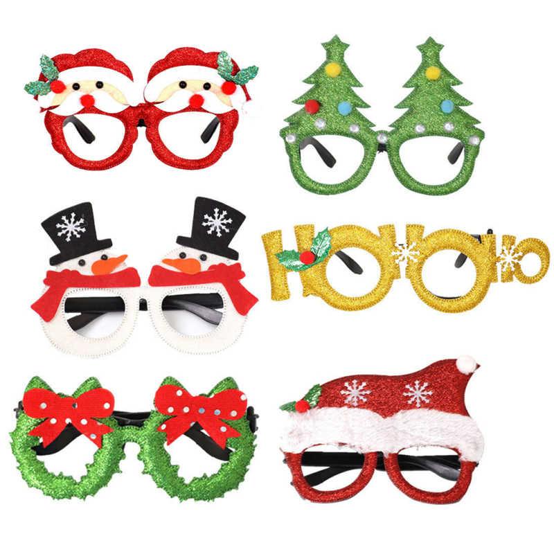 2019 Merry Natal Dekorasi Santa Claus Snowman Elk Kacamata Pesta Pernikahan Souvenir Natal Gaun Kacamata Anak Hadiah