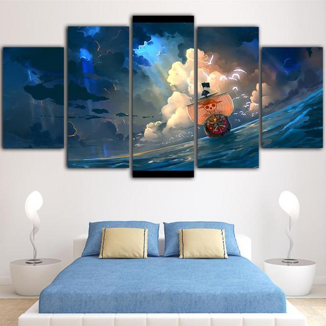 Decoración del hogar, lienzo de una pieza, carteles impresos, pintura de barco pirata, arte de pared moderno, cuadro moldular de Anime japonés para salón, Marco