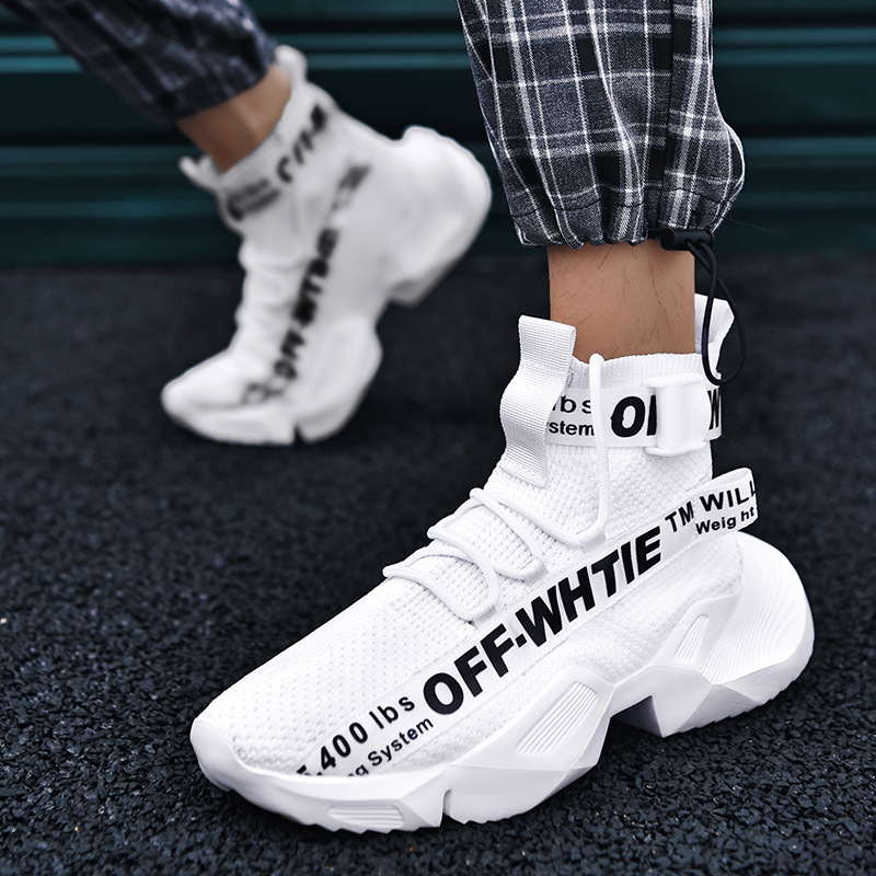 Breathable Fly Woven Socks Shoes Hight-top Roar Students Sports Trendy Shoes Casual Shoes Extra Lace Up Men Sneakers Confort