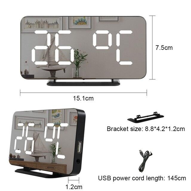 Digital Mirror Alarm Clock LED Wall Table Electronic Temperature Clocks Multifunction Watch Home Decoration Clock 6