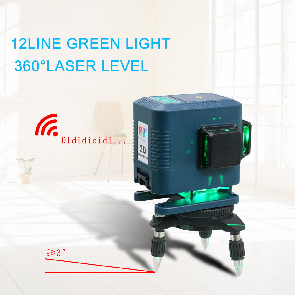 KaiTian 3D Laser Level Tripod 12Lines Self-Leveling Horizontal amp  Vertical Powerful Remote Control Green Line Nivel Laser Receiver