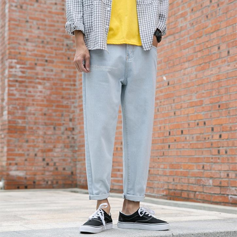 Autumn And Winter Models Hong Kong Style Straight English Printing Jeans Men's Tide Brand Loose Couple Straight Wide Leg Father