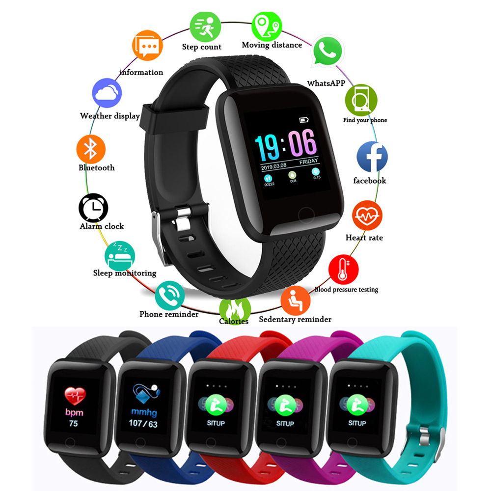 116Plus Smart Watch Waterproof Smart Bracelet Fitness Exercise Tracking Blood Pressure Heart Rate Detection Smart Watch Bracelet