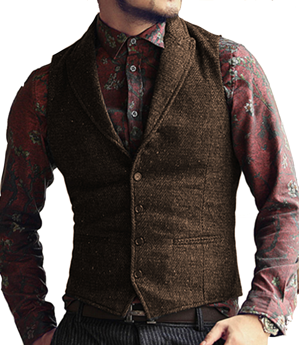 Men's Suit Vest Casual Tweed Slim Fit Notch Lapel British Style Custom Made Waistcoat For Wedding Groomsmen Leisure Business