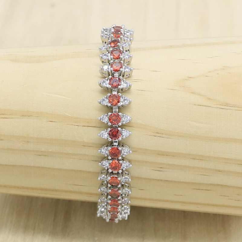 สีแดง Semi-Precious 925 Mark Silver ชุดเครื่องประดับสำหรับสร้อยข้อมือต่างหูจี้ของขวัญสี