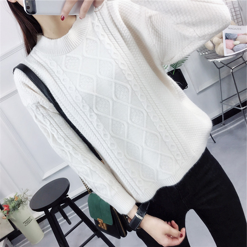 Thick Twist Loose Jumper Knitted Sweater Pullover Solid Long Sleeve Fashion New 2019 Sueter Mujer Women   Winter Soft Pull Femme