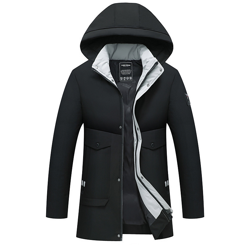 ICPANS Plus Size XXXL 4XL Snow Long Men Parka Hooded Waterproof Casual Pacthwork Winter Coat Jacket Men Regular Zippers Warm